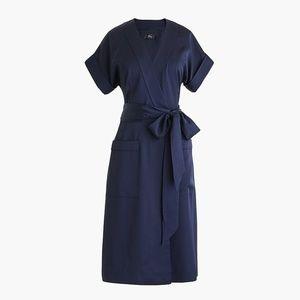 J.Crew Short-sleeve wrap dress in satin-navy crepe